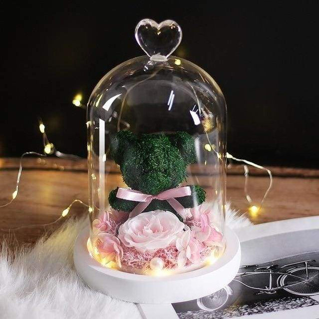 New Teddy Bear Rose Flowers In Glass Valentines Day Gifts - green - SoTrendify