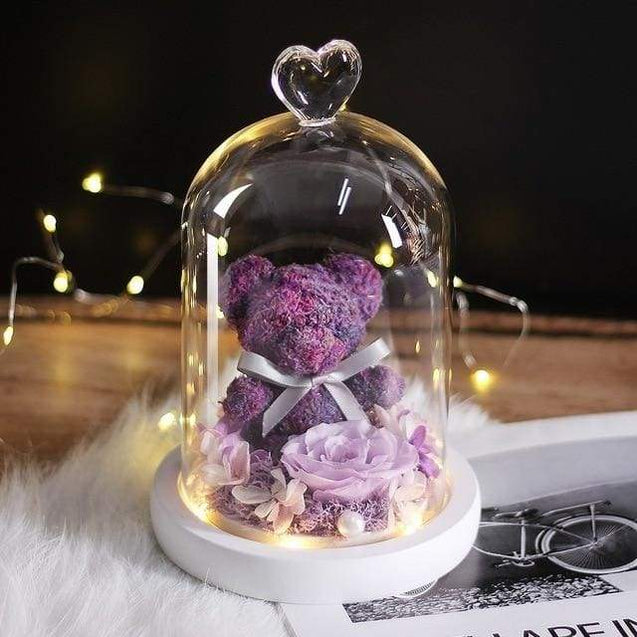 New Teddy Bear Rose Flowers In Glass Valentines Day Gifts - purple - SoTrendify