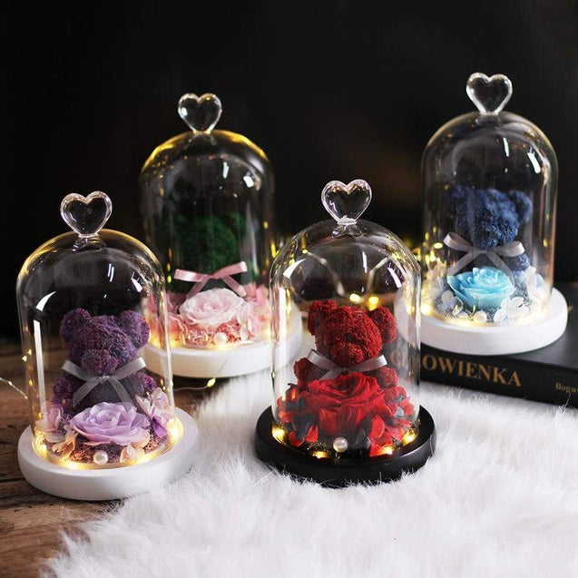 New Teddy Bear Rose Flowers In Glass Valentines Day Gifts - SoTrendify