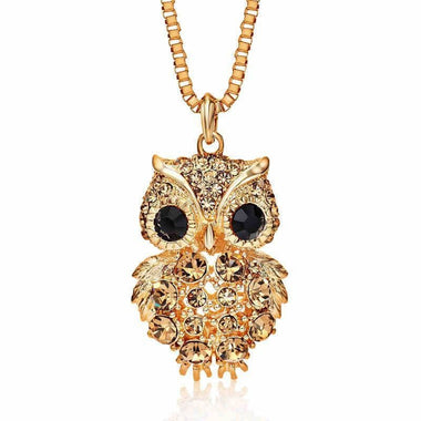 Owl Necklace with Rhinestone - SoTrendify