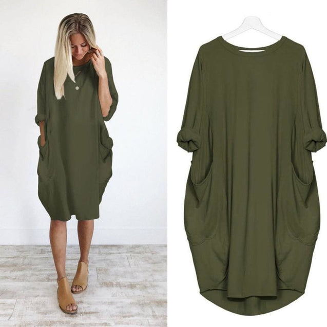 Pocket Loose Dress Ladies Crew Neck Casual Long Tops Dress - SoTrendify