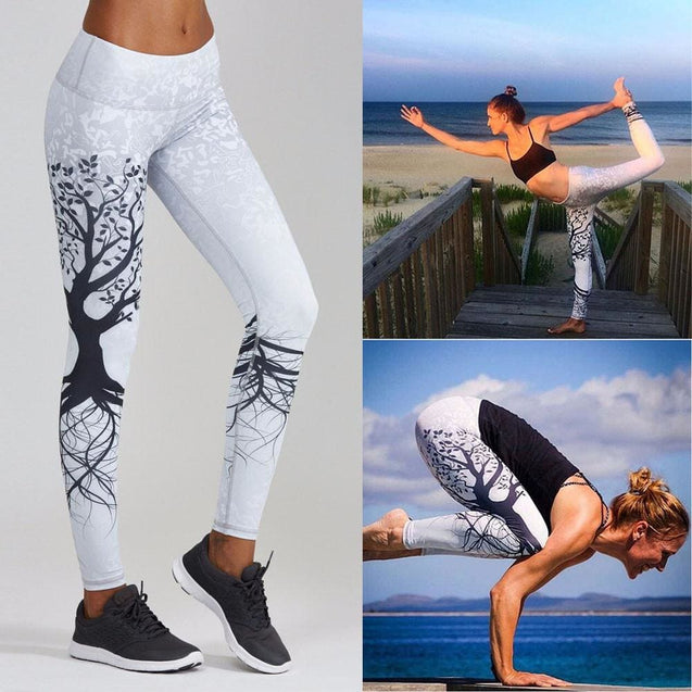 Printed Sports Yoga Workout Gym Fitness Exercise Athletic Pants - White / M - SoTrendify
