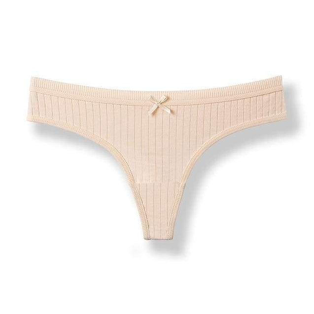 Sexy g-string Cotton Panties Women Cotton Briefs With Bow Underwear - Apricot / M / 1pc - SoTrendify