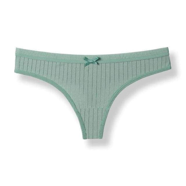 Sexy g-string Cotton Panties Women Cotton Briefs With Bow Underwear - Green / L / 1pc - SoTrendify