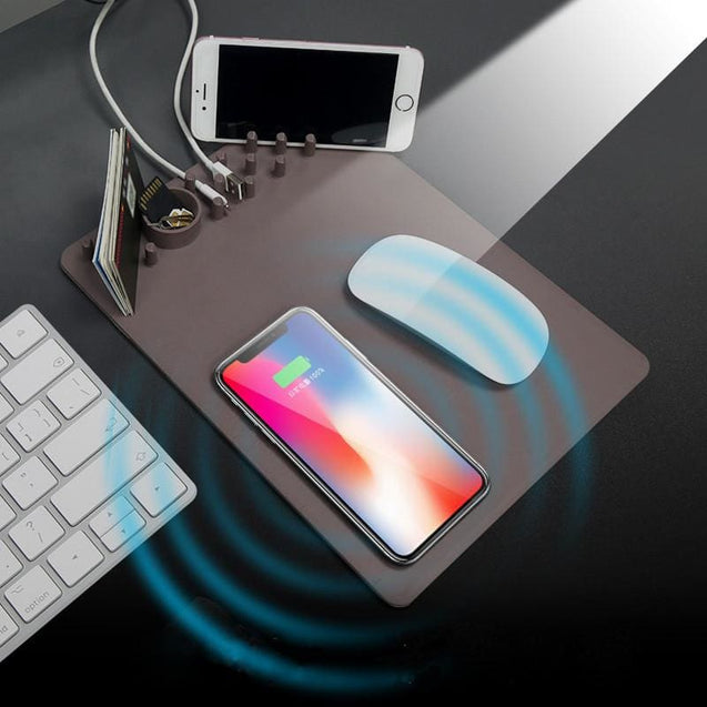 Wireless Mouse Pad Charger with 2 in 1 Mouse Pad With Qi Wireless Charger - Brown - SoTrendify