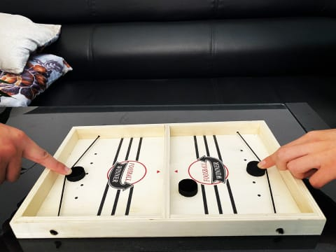 Table Hockey Game - Table Desktop Battle 2 in 1 Ice Hockey Game - Sling Puck Toy