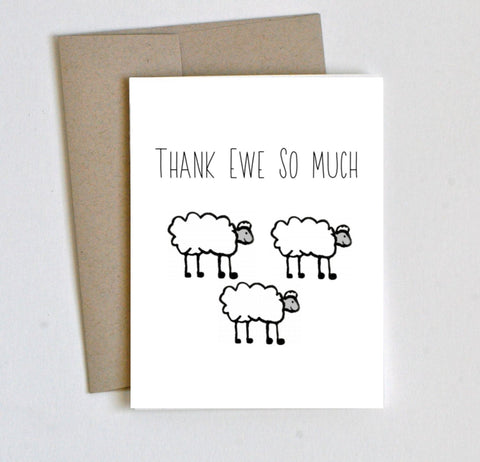 """Thank Ewe"" Thank You Card - Laura's Greetings"