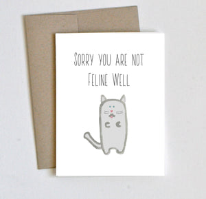 """Feline Well"" Get Well Card - Laura's Greetings"