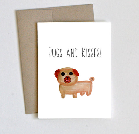 """Pugs and Kisses"" Thinking of You/Valentines Card - Laura's Greetings"