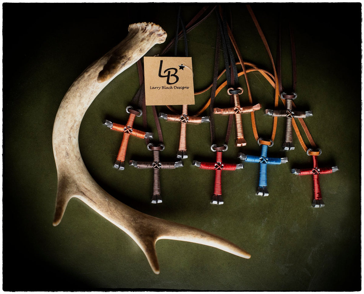 larry black design crosses handmade jewelry at copper bit boutique in camden, north carolina