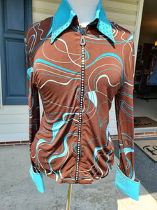 Custom Show Shirt - Blue Swirl - Copper Bit Boutique