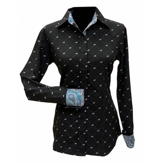 Royal Highness Galloping Horses Show Shirt - Copper Bit Boutique