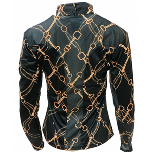 Royal Highness Easy Care Black & Gold Bit Sun Shirt - Copper Bit Boutique