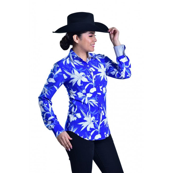 Big Blue Flower Shirt - Copper Bit Boutique