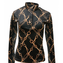 Load image into Gallery viewer, Royal Highness Easy Care Black & Gold Bit Sun Shirt - Copper Bit Boutique