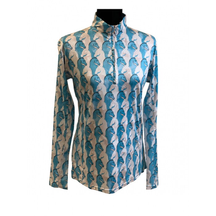Blue & White Horse Heads Sun Shirt - Copper Bit Boutique