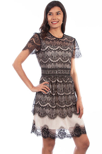 Scalloped Antique-Lace Dress - Copper Bit Boutique