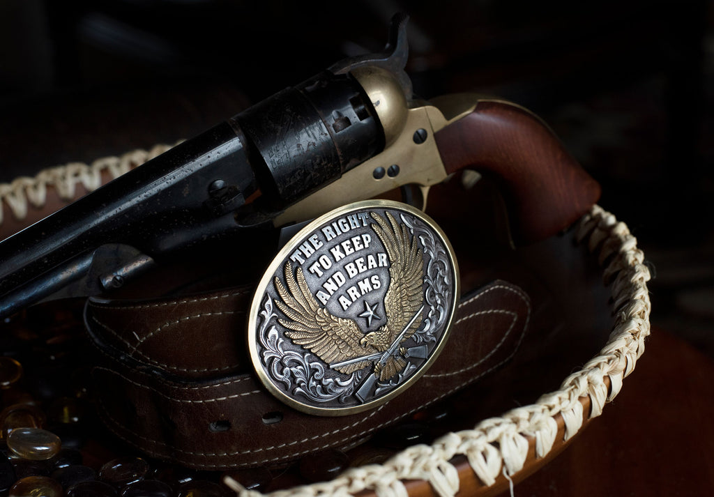 The Right to Keep and Bear Arms Belt Buckle - Copper Bit Boutique