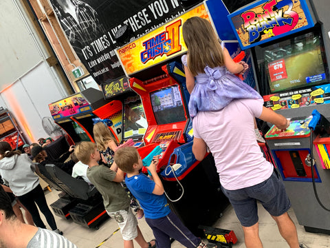 Arcade games are loved by the kids - Street Fighter II, Daytona USA, Time Crisis II, Galaga, Point Blank 3