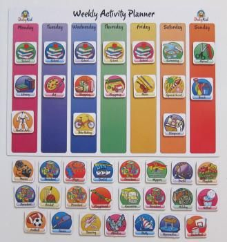 Colorful rainbow weekly activity calendar for toddlers