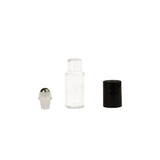 1/6oz (5 ml) Clear Glass Roll-On Vials with Steel Rollers and Black Caps (pkg. of 6)