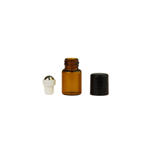 5/8 Dram (2 ml) Amber Glass Vials with Metal Roll-ons and Black Caps (Pack of 6)