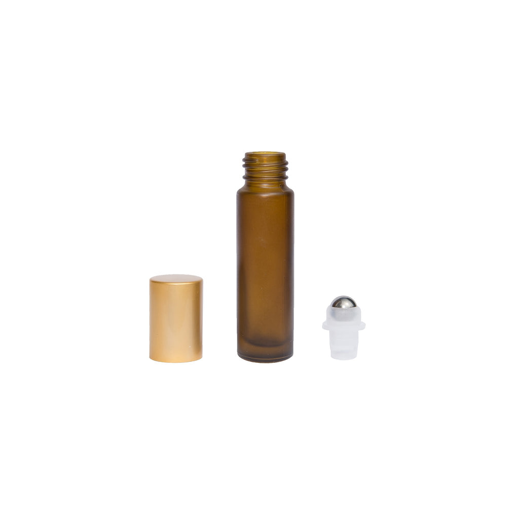 040e72c87a87 1/3 oz (10ml) Amber Frosted Glass Bottle with Gold lid (pkg 6)