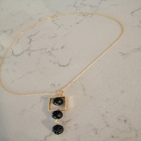 BOGO! Necklace with Lava stone and precious stone. Essential oil and/or fashion jewelry.