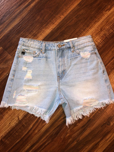 Light High Wash Rise Shorts with Pastel Distressed Threads