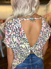 Load image into Gallery viewer, Pink Multi Animal Print Top with Twist Open Back