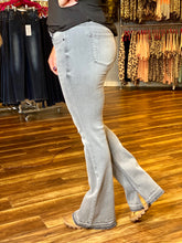 Load image into Gallery viewer, Light Gray Mid Rise Raw Hem Flare KanCan Jeans - Size 1, 3, & 15