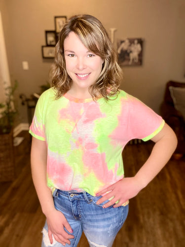 Neon Pink & Green Mix Top