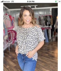 Leopard with One Shoulder Short Sleeve Top