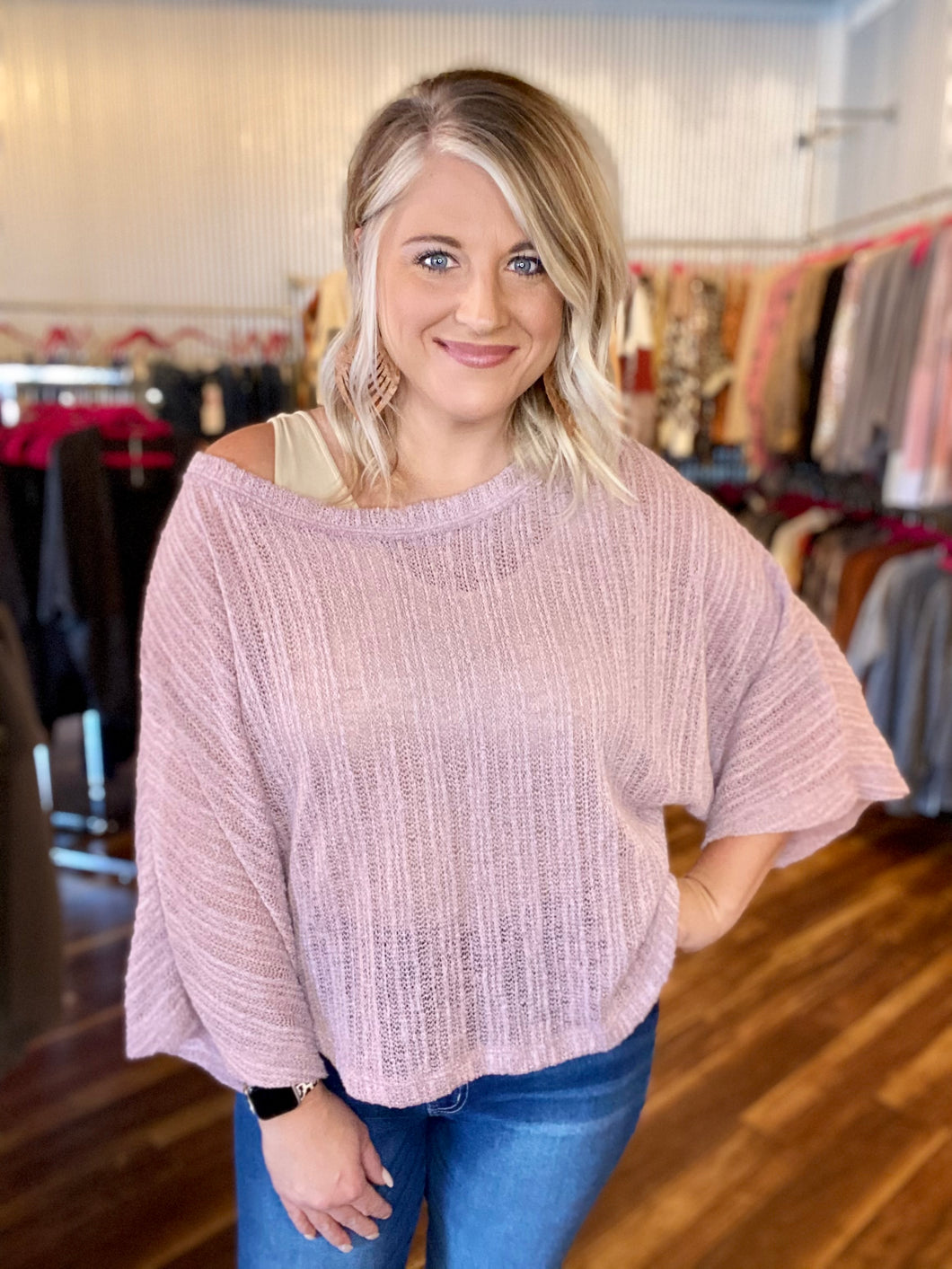 Dusty Lavender Solid Sheer Sweater