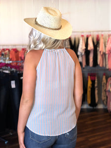 Chambray Candy Stripe Summer Sleeveless Top