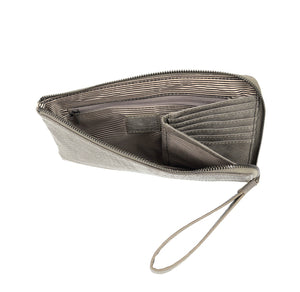 Smoke Gray Python Zip Around Wristlet