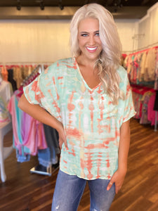 Mint & Orange Tie Dye Top