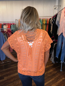 Peach Sweater With Lace Up Back