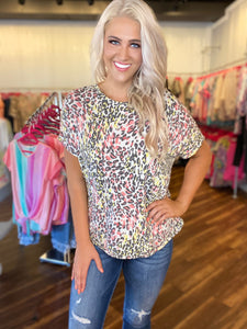 Pink Multi Animal Print Top with Twist Open Back