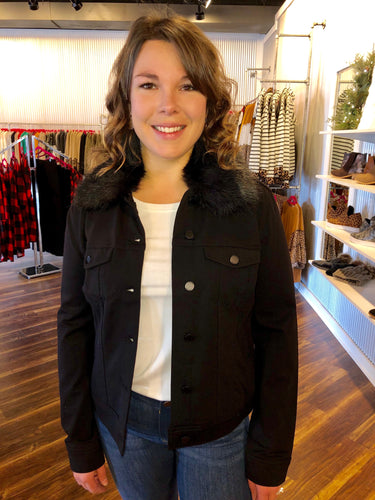 Liverpool Black Jean Jacket With Detachable Fur Collar - Size XS