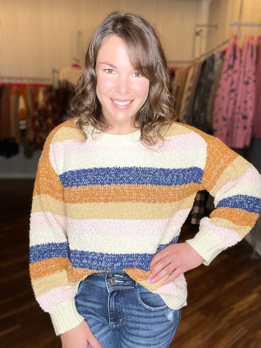 Navy and Clay Multi Stripe Sweater - Size L