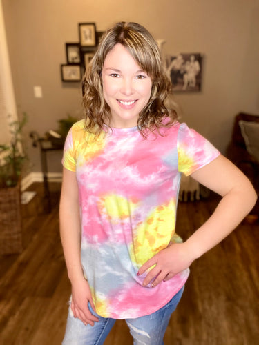 Gray, Pink, & Yellow Multi Mix Top