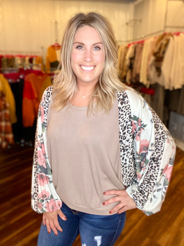 Taupe Top with Leopard & Floral Sleeves