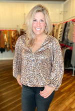 Load image into Gallery viewer, Brown Leopard Sequin Top - Size L