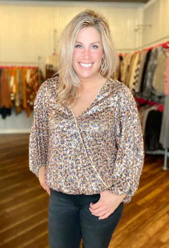 Brown Leopard Sequin Top - Size L