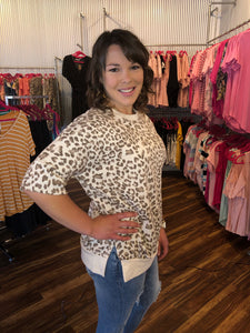 Taupe Leopard French Terry Top with Round Neckline, Short Sleeves, & Banded Hem