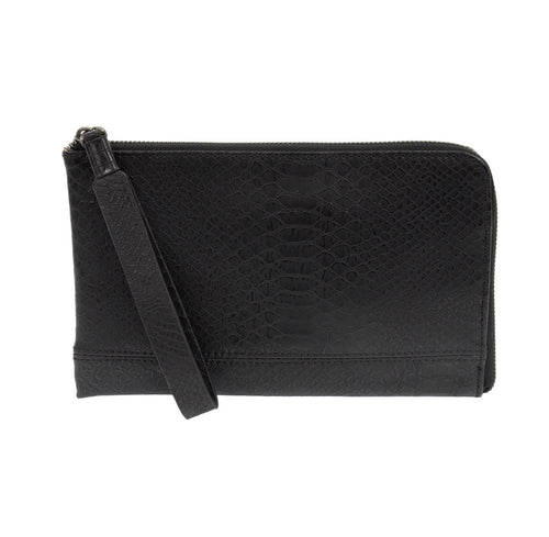 Black Python Zip Around Wristlet