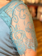 Load image into Gallery viewer, Teal Top with Lace Sleeves