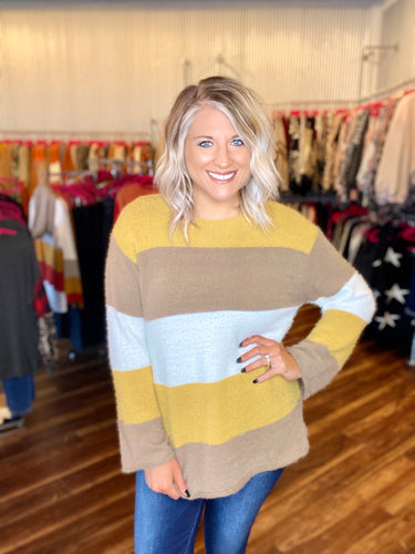 Mustard & Mocha Wide Stripe Sweater