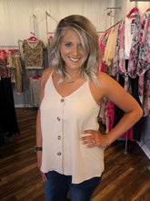 Load image into Gallery viewer, Sand Tortoise Button Down Sleeveless Top with Adjustable Straps